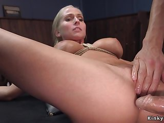 Big breast blond hair lady agent assfucking had intercourse in bondage
