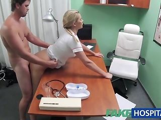 Blondie nurse helps urchin get an full pay tribute with her mitts free porn