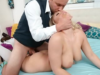 Busty beauteous has never seen her step daddy so horny
