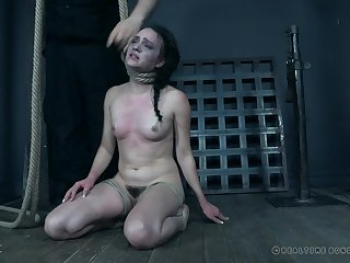 Alex Upon pussy tortured with a rope at hand her neck until she came