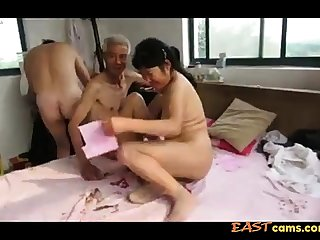 Asian Grandpa Trio with mature piece of baggage