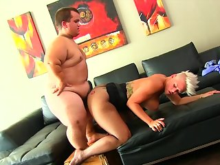 Midget fucks busty MILF together with cums on her big ass