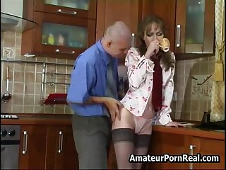 Sexy Russian Of age Fucks Young Guy In Kitchen