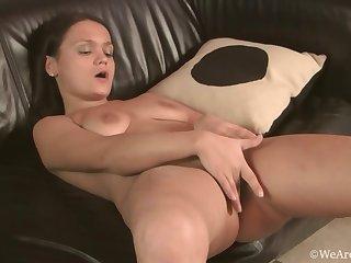 Dirty maid shows her big ass and masturbates